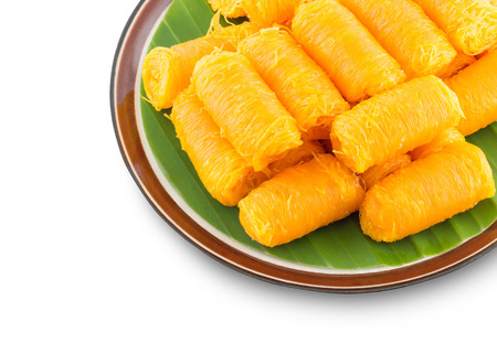 thong: Thai Traditional Dessert, Foi Thong and Bean-paste Stock Photo