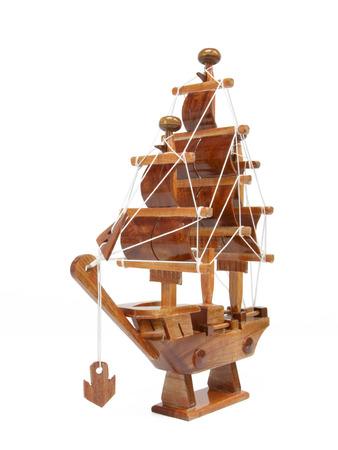 brig ship: Wooden argosy model on white background Stock Photo