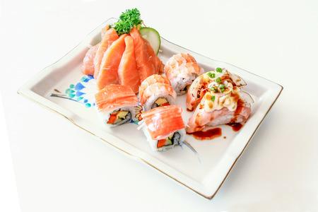 sushi set: Sushi Set: sashimi and sushi rolls