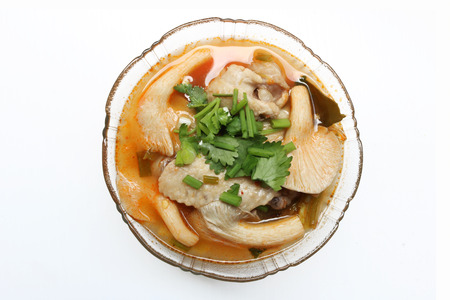 food ingredient: spicy lemongrass soup chicken thailand Stock Photo
