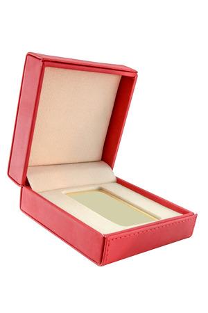 ingot: gold ingot in red  box Stock Photo