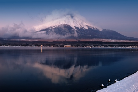 Morning Mount Fuji reflected in a lake