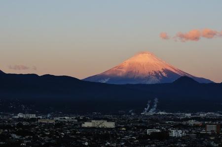 Mount Fuji dyed the morning sun
