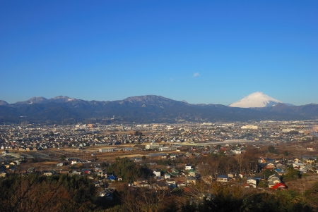 Mount Fuji of the morning of winter