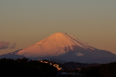 Mount Fuji dyed the morning sun red photo