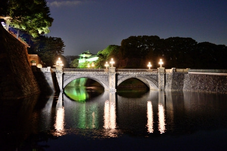 Lighting scenery of the Imperial Palace in Japan