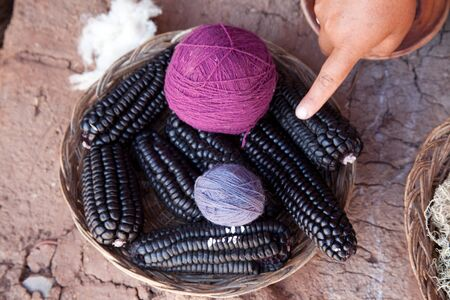 peruvian ethnicity: Purple wool is made from purple maize, Peru