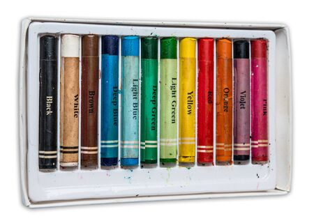 oil pastels: Old pastel colorful crayons