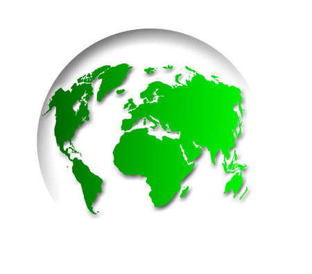 realist: Green globe of the world icon on white background