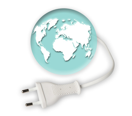 power cable: earth globe with power cable Stock Photo