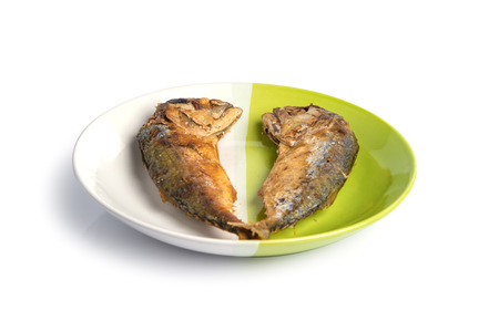kerala culture: fried fish on white and green plate.