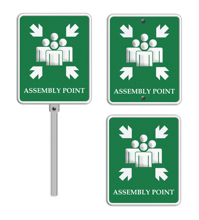 assembly point: assembly point sign on white background