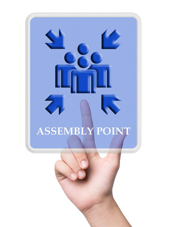 assembly point: Hand pointing assembly point sign on white background