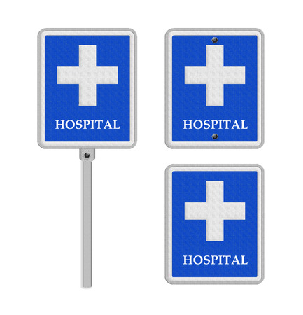 Hospital Hospital road sign .concept photo of health and medical care. photo
