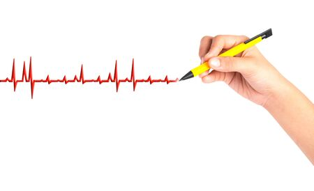 hand drawing chart electrocadiogram (ECG) of ratio heartbeat on virtual screen concept for medical diagnosis Фото со стока