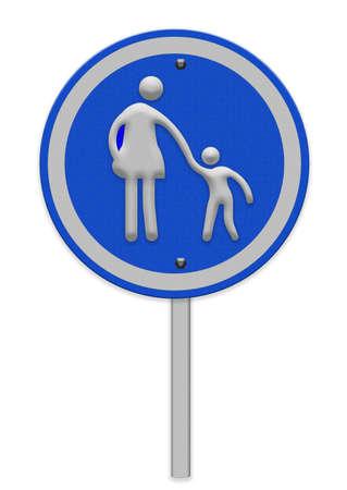 paso de cebra: signo paso de peatones con la mujer amd ni�o caminando Foto de archivo