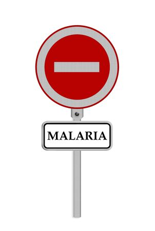 malaria: Stop Malaria sign - isolated