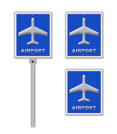 airport sign: Airport sign, blue isolated road traffic airplane icon signage and signpost pole post Stock Photo