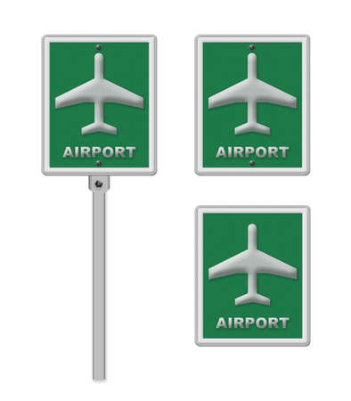 po: Airport sign, blue isolated road traffic airplane icon signage and signpost pole post Stock Photo