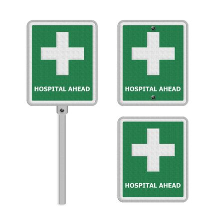 dissuade: Hospital Hospital road sign .concept photo of health and medical care.
