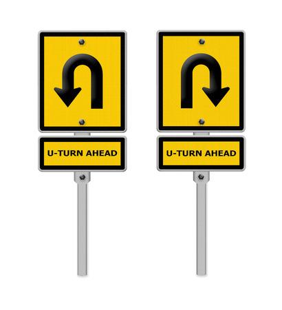 uturn: U-Turn Roadsign ,part of a series.