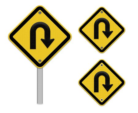 u turn sign: U-Turn Roadsign - Yellow road sign with turn symbol isolated on white background