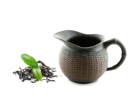 chinese teapot: Black Purple Chinese TeaPot isolated on white
