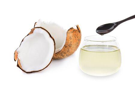 coconut oil: olio di cocco isolato su bianco Archivio Fotografico