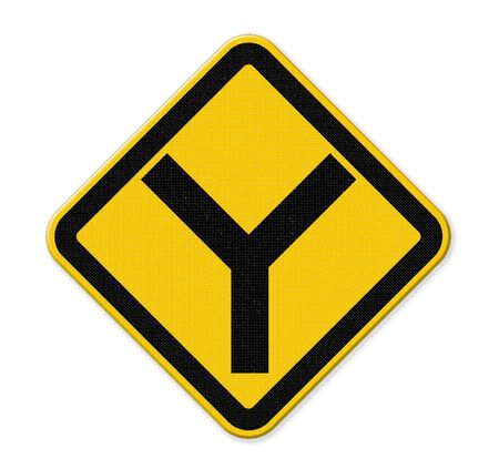 junction: Y fork junction sign on yellow traffic label