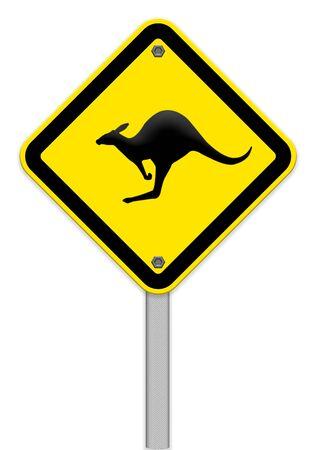 beware: beware of Kangaroo sign Stock Photo