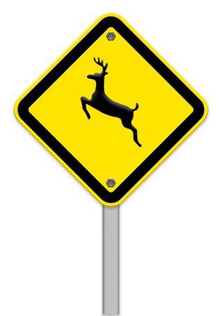 beware: beware of deer crossing traffic sign