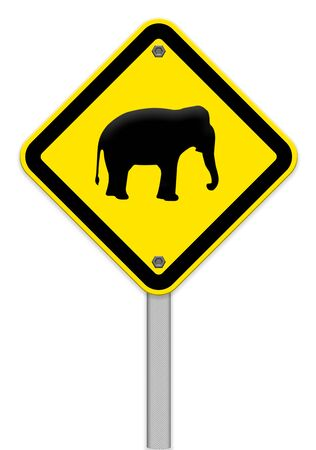 piktogramm: Elephant warning traffic sign,part of a series