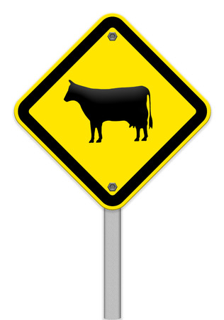 zoo traffic: Cow warning sign Stock Photo