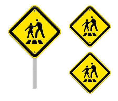 paso de cebra: Signos del paso de peatones de color amarillo brillante Foto de archivo
