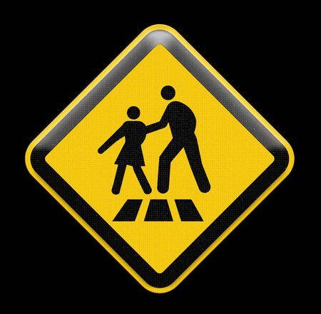 crosswalk: De color amarillo brillante signo de paso de peatones