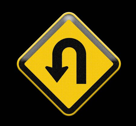 uturn: U-Turn Road sign Stock Photo