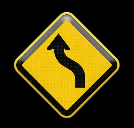 Yellow curved warning sign photo