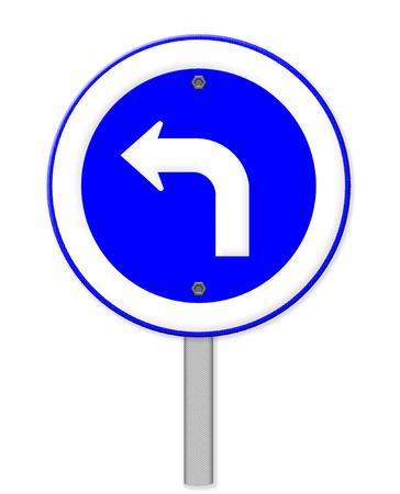 obey: Signo de la carretera gire a la izquierda aislado sobre fondo blanco Foto de archivo