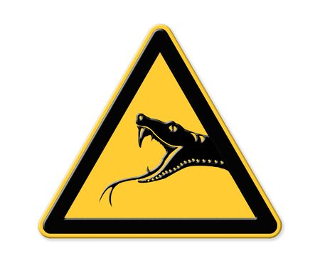 slowdown: Snake on Road Sign Stock Photo