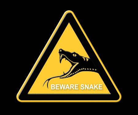 warned: Snake on Road Sign Stock Photo