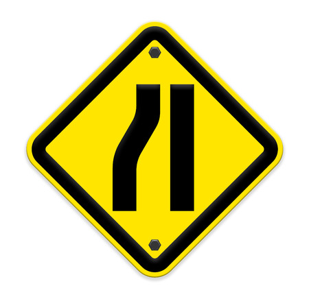 narrowing: Road narrows merge sign isolated on a white