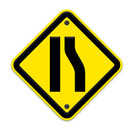 narrowing: Road narrows merge sign isolated on a white background