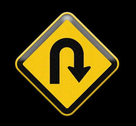 uturn: U-Turn Yellow road sign Stock Photo