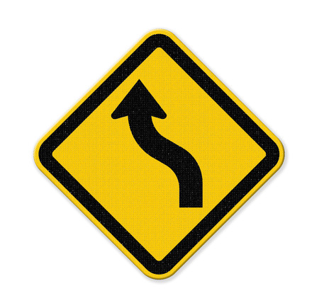 trip hazard sign: Yellow curved warning sign