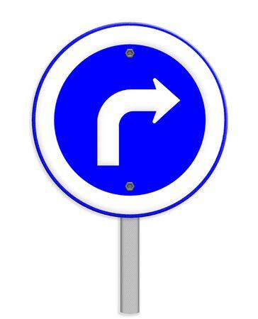 obedecer: Signo de la carretera gire a la derecha aislado en fondo blanco