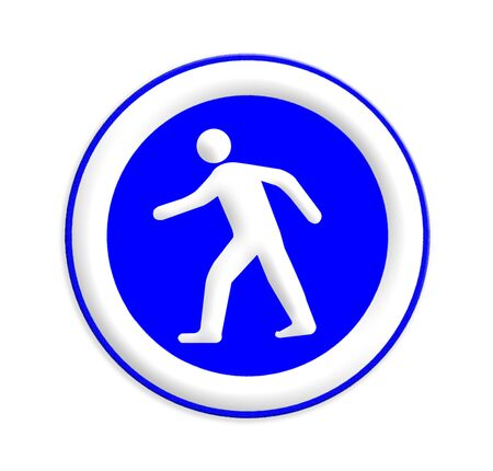 crosswalk: se�al de paso de peatones con un hombre caminando Foto de archivo
