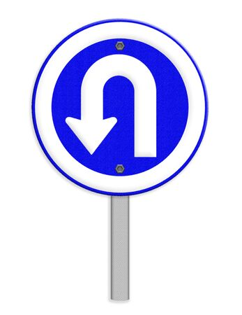 u turn sign: U Turn left traffic sign