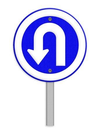 turn left: U Turn sinistra traffico segno Archivio Fotografico
