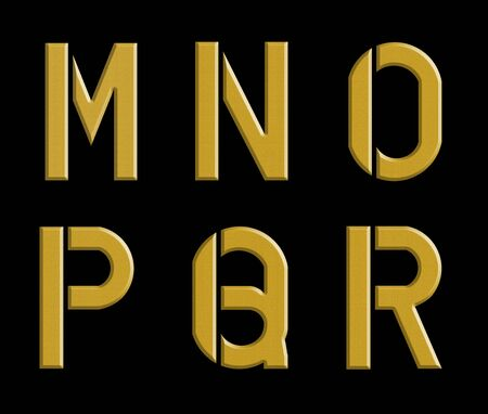 r p m: yellow metal alphabet M N O P Q R letters