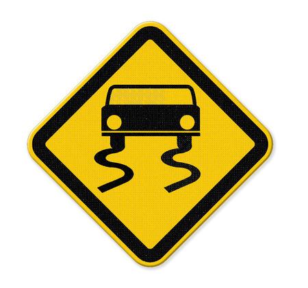 Yellow slippery road sign photo